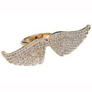 cc skye gold plated wing pave ring new